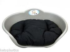 EXTRA LARGE PLASTIC SILVER GREY PET BED WITH BLACK CUSHION DOG CAT SLEEP BASKET