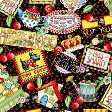 Engelbreit Fabric MOTTOS Sayings Cotton Quilt Home Heart Cherry Dog Tea Pot-BTHY