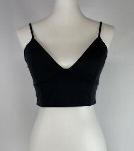 Victorias Secret Medium Longline Triangle Bikini Top Montauk Black Push Up Swim