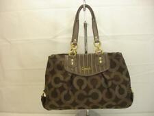 Coach Carryall Ashley F20056 Brown Gathered Dotted Op Art Tote Bag Purse Handbag