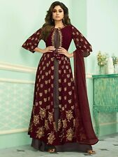 Indian Women Georgette Bollywood Salwar Kameez  Maroon and gray