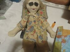 Vintage Handmade Rag Doll Hiker/Adventure Embroidered Face Ad for Clothing?
