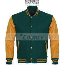 New Letterman Varsity Bomber Baseball Jacket Green Body & Gold Leather Sleeves