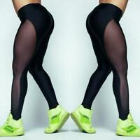 Women's Yoga Gym Stretch Leggings Pants Fitness Mesh Running Sports Trousers Q