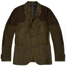 #225 Barbour Men Heritage Gundog Tailored Brown Herringbone Wool Jacket 42R Slim