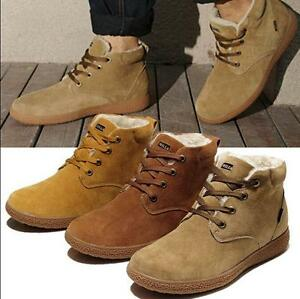 Retro Men's ankle boots suede lace up casual winter warm fur lined combat shoes
