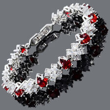 Wedding Gift 18K White Gold Plated Cubic Zirconia Red Ruby Tennis Bracelet