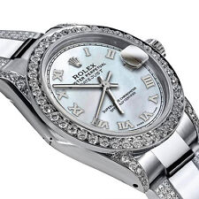 Women's 31m Rolex SS Datejust Custom Diamonds White Tone Roman Dial