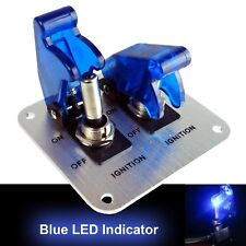 2 Row 12V Blue LED Safety Cover Aircraft Toggle Switch With Aluminum Plate 20AMP