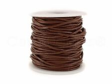 Genuine Round Leather Cord - Brown - 2mm - 25 Yards - Beading Jewelry Crafts