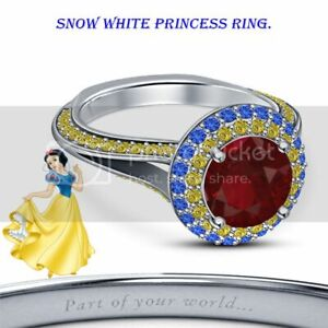 Disney Snow White Princess .925 Sterling Silver Multi-Stone Halo Engagement Ring