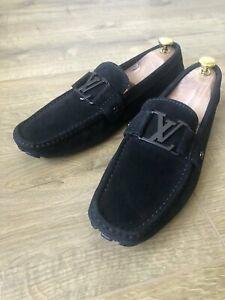 Louis Vuitton Loafers Men Suede Black Logo Shoes FA 0018 us 7.5 eu 41