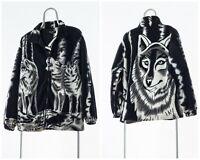 90s Vintage Mens WOLVES Printed Graphic Fleece Jacket Black White Size L