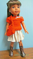 """Sweater and Skirt Set made to fit  14.5"""" Wellie Wishers dolls  4+"""