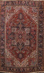 Antique Vegetable Dye Heriz Serapi Geometric Area Rug Hand-knotted Oriental 9x12
