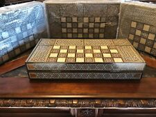 Syrian Hand Carved Mosaic Wood Mother of Pearl Middle Eastern Backgammon Set 19""