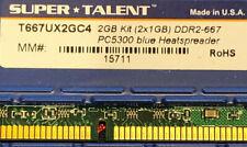 DDR2 2GB (2x1GB) Desktop Memory RAM Kingston Super Talent T667UX2GC4 2GB