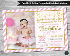 TWINKLE LITTLE STAR 1ST FIRST BIRTHDAY INVITATION INVITE CARD PINK GOLD PARTY