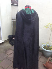 Black hooded cloak, lined hood more colours  Crushed Velvet wizard witch fantasy