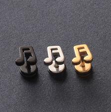 Music Note Punk Rock Stainless Steel Screw Back Pierced Men Stud Earrings 2pcs