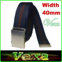 Mens Webbing Trouser Belt 52inch 130cm Adjustable Canvas Buckle strap Stock UK