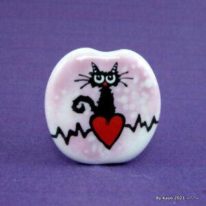 """YOU'RE MY HEARTBEAT""  handmade lampwork glass CAT pendant focal bead byKayo SRA"