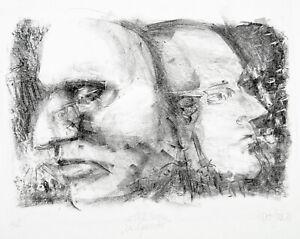 """Kunst in der DDR. """"Die Gesichter"""" 1980 Lithogr Jost GIESE (*1953 D) handsigniert"""
