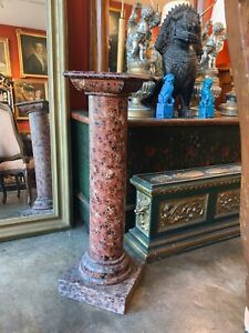 Classical Red Faux Marble Painted Column Pedestal