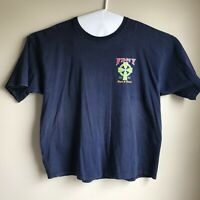 Vintage FDNY Pipes And Bags Blue Men's T-shirt Size 2XL