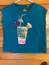 Gymboree Sunny Adventures Turquoise Top Girls Tropi Cool Drink Shirt Size XL 14