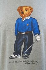Polo Ralph Lauren Golf Polo Bear Vintage Men Grey T-Shirt XLarge A177