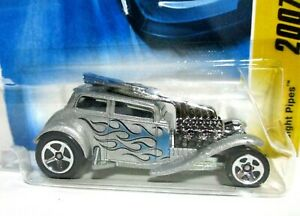 2007 Hot Wheels New Models Straight Pipes Silver with Blue Flames #12of 36