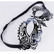 Luxury Black Crown Venetian  Metal Filigree Masquerade Mask Diamante Crystal