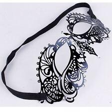 Lusso Nero Corona Veneziano Metallo Filigrana Masquerade Maschera Strass Crystal