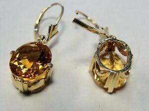 VINTAGE 14K 14KT GOLD CITRINE EARRINGS N/MINT