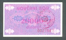 BOSNIA  20000 Dinara ND1992  aUNC P52Aa  Handstamp TRAVNIK    RARE in aUNC !!!