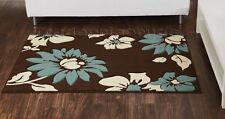 Chocolate Brown Teal Blue Beige Flower Rug 120x165