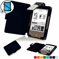 Blue Leather Smart Case Cover with LED Light for Tolino Page Scrn Prot & Stylus
