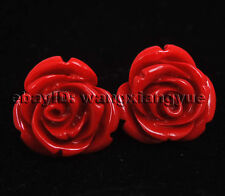 flower Silver Stud earrings Aaa 12mm red coral hand carved rose
