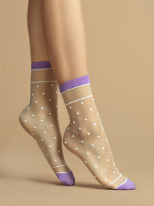 Fiore Liz 15 Sheer Socks - Purple and White with Polka Dots