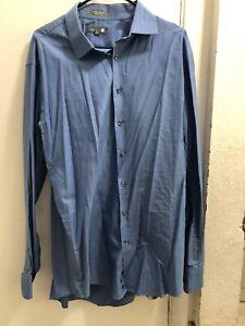 Nordstrom Mens Dress Shirt Blue Size 17.5 Trim Fit Long Sleeve