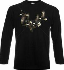 T-shirt, maglie e camicie da donna a manica lunga neri con girocollo