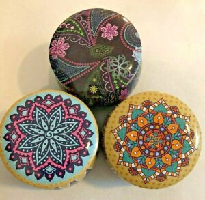 Set x 3 Moroccan Style Colorful Trinket Boxes Home Decor Great Gift GLOBAL SHIP