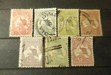 """(7) Vintage """"Australia"""" Stamps (Kangaroo) 1910's -1920's =Used"""