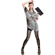 PunkJewelry Fashion Tattoo Leggings Ripped ZERSCHNITTEN Look EINHEITSGRÖSSE