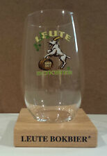 Leute Bokbier Belgium Beer Stemless Glass With Wood Stand Goat Logo Anno 1927