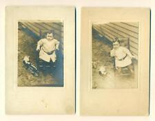 LOT of 2 c.1890 CUTE LITTLE BOY in CHAIR w TOY TRAIN & STUFFED BUNNY RABBIT