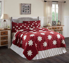 KENT Queen Quilt Crimson Chambray Red Creme Star Rustic Primitive Country VHC