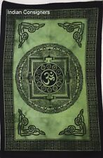 Wall Hanging Green Color Om Design Small Cotton Tapestry Poster Indian Ethnic