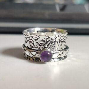 Amethyst Spinner Ring 925 Sterling Silver Plated Handmade Ring Size 8.5 JP135